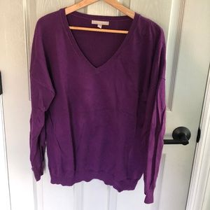 Purple V neck sweater Banana Republic